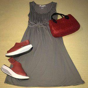 Max Studio Black/White Striped Dress Sz M